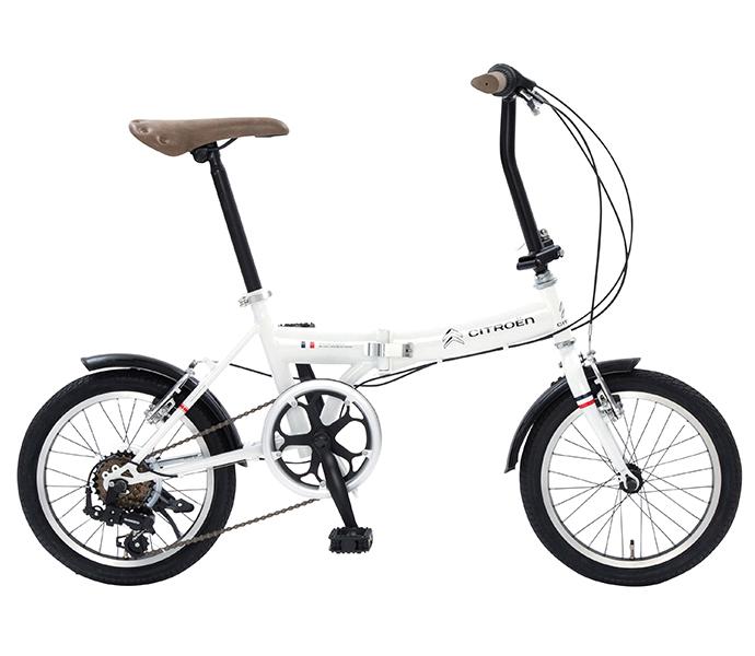 配送先一都三県一部地域限定 シトロエン 折りたたみ自転車 2019年モデル 外装6段変速ギアつき CITROEN FDB 16 6自転車 ギアつき 通販 おしゃれ ホワイト 白