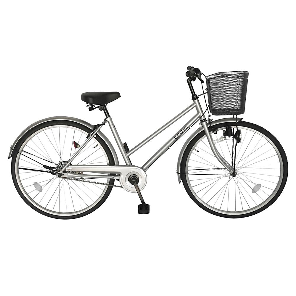 自転車 デザインフレームで人気 trois トロワ サントラストおしゃれでシンプルなシティサイクル シティ車 27インチ ママチャリ シティサイクル 自転車 シルバー ギアなし 変速 変速なし 通販 おしゃれ