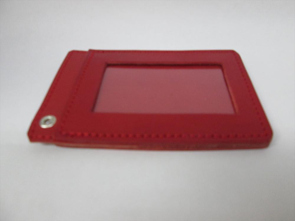 通勤 通学 カードケース 市販 入学 就職 誕生 お祝い 送料無料 赤 本革100% 送料無料 記念 ハンドメイド 両面パスケース pass-sim-011