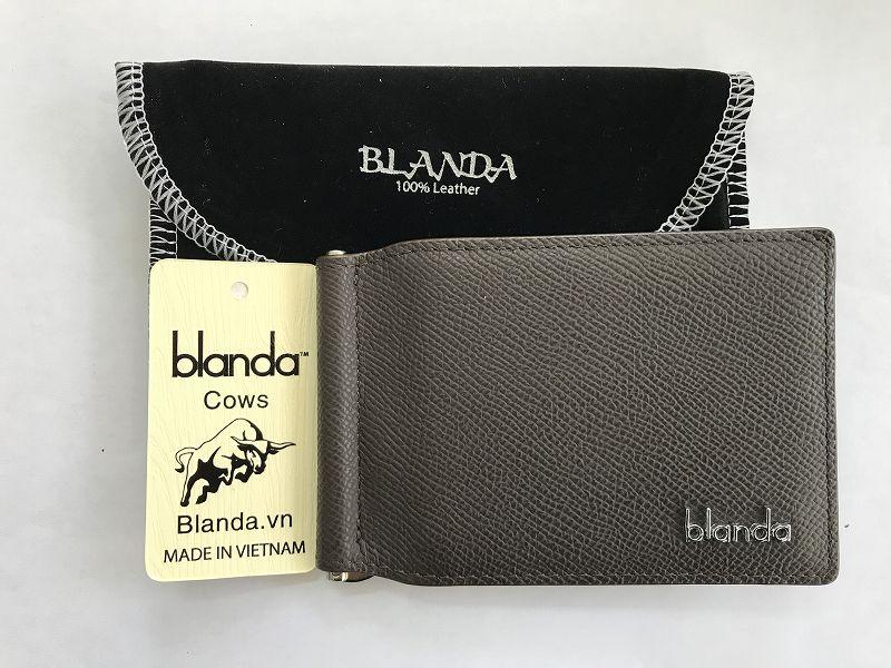 マネークリップ 札ばさみ 牛革 財布 カード ブラックブラウン 本革 メンズ BLANDA ベトナム製 オリジナル ギフト プレゼント
