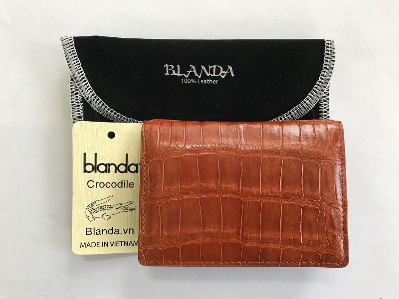 カードケース 免許証入 クロコダイル ワニ革 財布 エナメル ブラウン-1 本革 メンズ BLANDA ベトナム製 オリジナル ギフト プレゼント キャッシュレス 還元