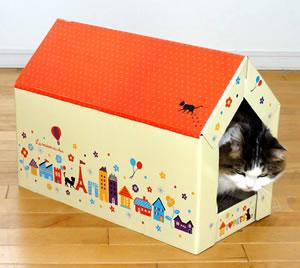 キャットスクラッチハウス~猫ちゃん大好きトンネルハウス型~両面使えて2倍お得!キャットニップパウダー付き【特箱】