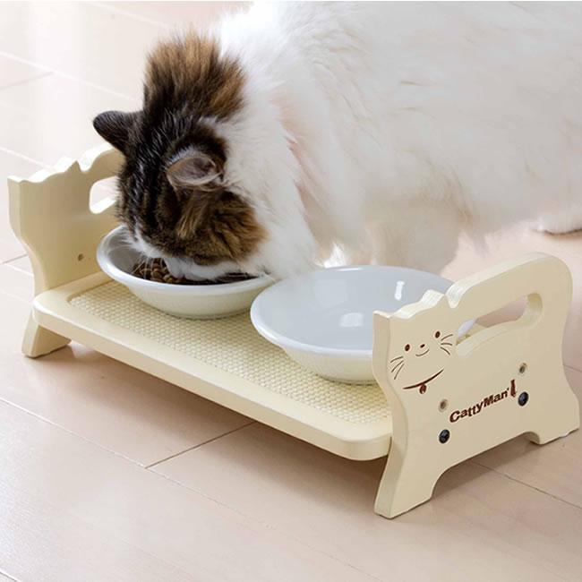 キャティーマン ウッディーダイニング キャット 猫用 食器台