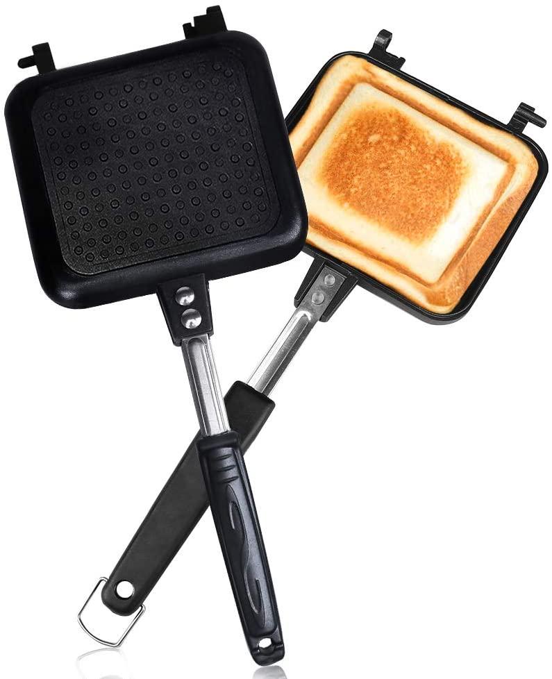 使い勝手の良い ホットサンドメーカー 直火 ih対応 Vsadey フチが圧着 上下分離型 耳まで焼ける 具だくさん対応 家庭用 軽量 休日 アウトドア 丸洗い 焦げ付きにくい フッ素樹脂加工 お手入れ簡単
