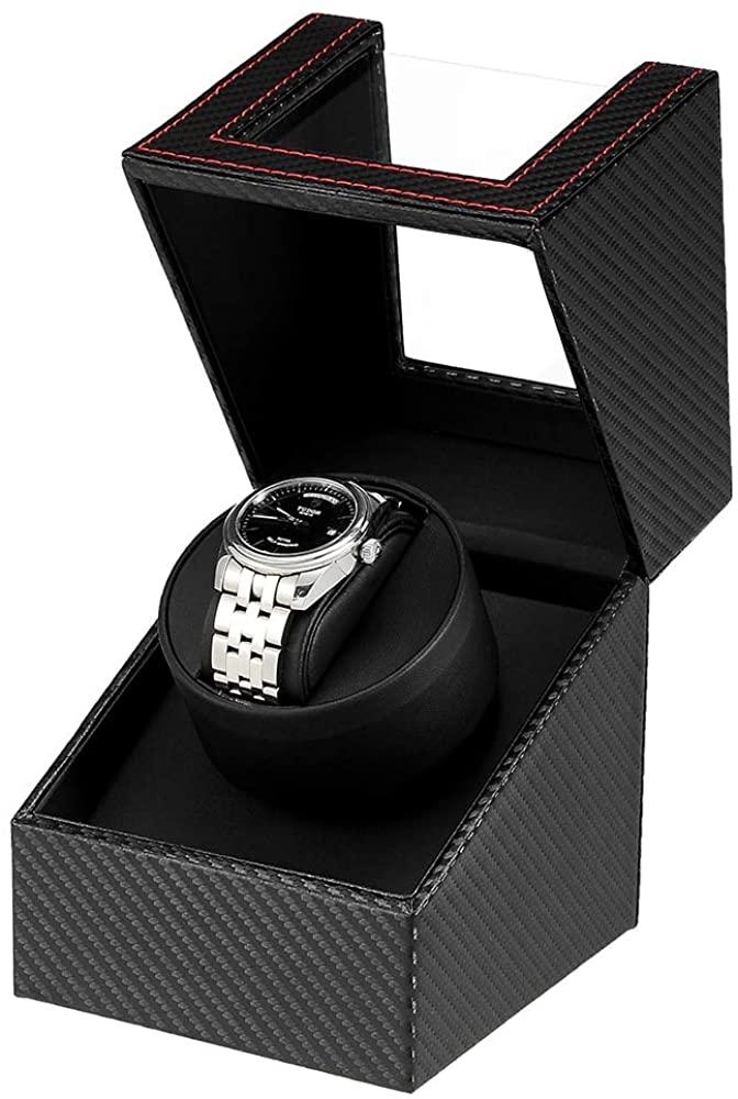 2021年最新版 ワインディングマシーン 1本巻き ウォッチワインダー 自動巻き時計ワインディングマシーン マブチモーター 超静音設計 新型の腕時計自動巻き上げ機 信憑 2021年アップグレード 男女の腕時計は全部使えます 高級PU皮質 中古 炭素繊維 レザー