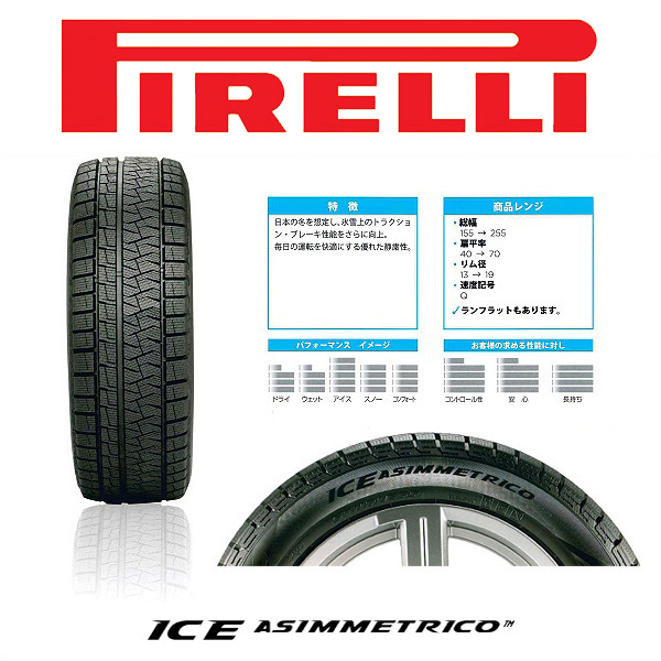 """Pirellistudrestire wheel set of 4 ' PIRELLI Ice Asimmetrico 205 / 60R16 TIRADO α (Alpha) silver 16 x 6.5 J 5H/114.3 +48 step WGN RP1/2 system"