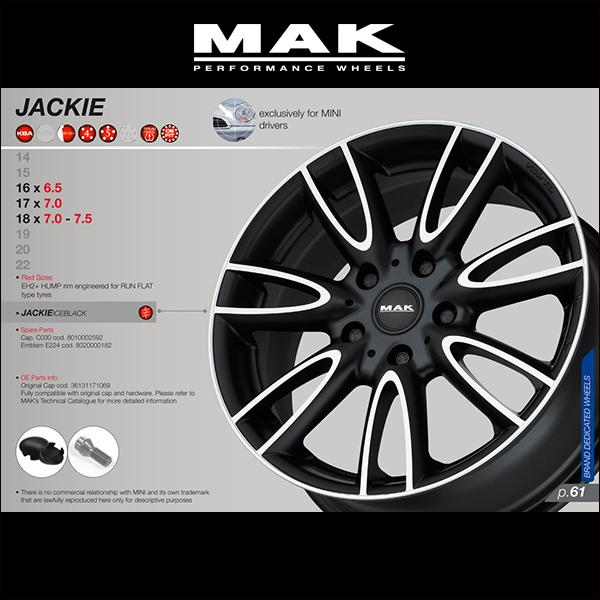 """""""Wheels set of 4 ' MAK WHEELS JACKIY Matte Black / matte black and 18 x 7.0 Jackie Mac wheel J 5H/112 + 54 / BMW MINI F56-only design P06Dec14"""
