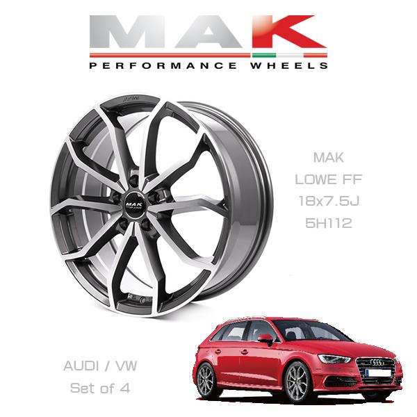 『ホイール4本セット』MAK WHEELS LOWE FF GM マックホイール レーベFF ガンメタリックミラー 18×7.5J 5H/112 VW/AUDI車専用設計