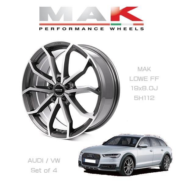『ホイール4本セット』MAK WHEELS LOWE FF GM マックホイール レーベFF ガンメタリックミラー 19×8.0J 5H/112 VW/AUDI車専用設計
