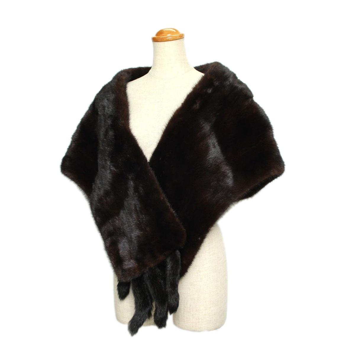 毛皮 ファー ショール 推定ミンク ダークブラウン 和装 洋装