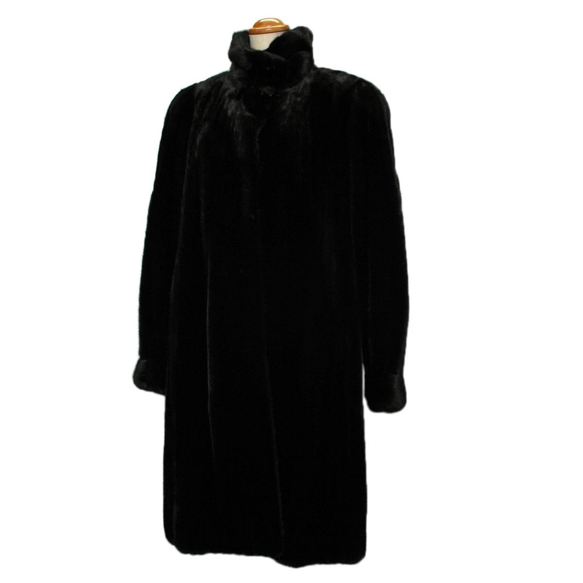 ミンク コート ロング レディース ブラック サイズF