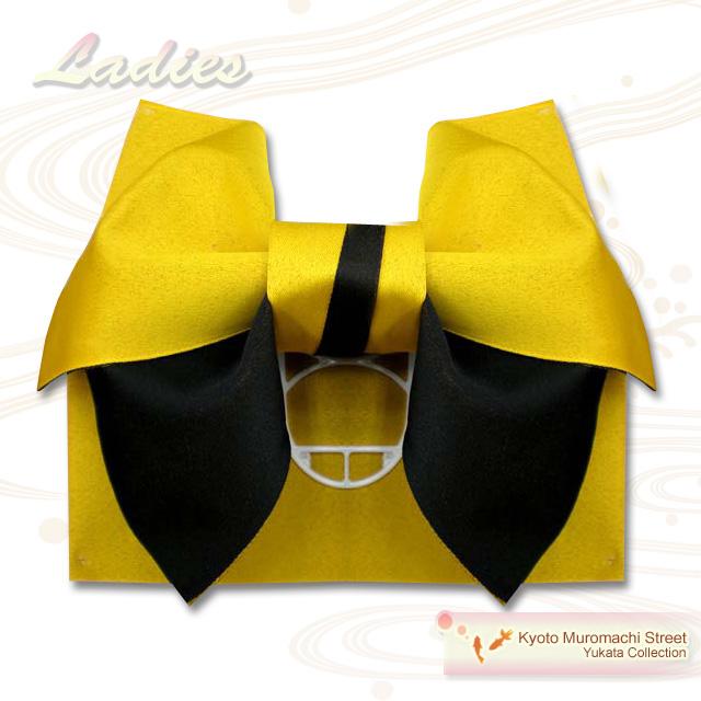 人気ブランド多数対象 作り帯 レディース 国産 ゆかた 付帯 定価 Obi 通販 販売 黒 浴衣 無地2色結び帯 黄色 M-110 女性用 TM 日本製