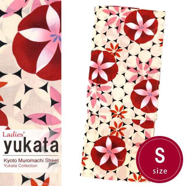 浴衣 レディース 単品 小柄な方向け  レトロ モダン 女性用浴衣 Sサイズ「赤 朝顔」TYS776