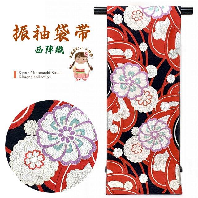 袋帯 振袖用 成人式の振袖に 西陣織の袋帯 六通 仕立て上がり「赤x黒、菊と桜」NFO699