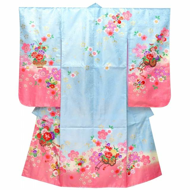 七五三 着物 7歳 女の子 絵羽柄の子供着物 単品 合繊「水色 牡丹に花車」STK709