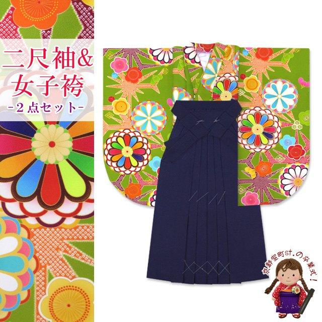 卒業式 袴 セット 二尺袖着物 ショート丈 無地袴 2点セット 合繊「抹茶 菊に梅」KNS745DMK