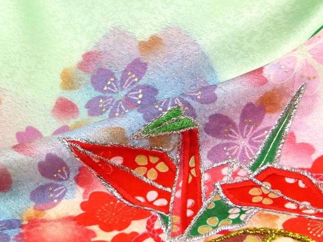 お宮参り 女の子 着物 刺繍入り 赤ちゃんのお祝い着 (初着 産着) 正絹「薄黄緑 折り鶴に鞠」TNUG111