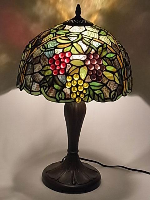ステンドグラス ランプ 葡萄柄 ぶどう柄 ブドウ柄 12インチ・テーブルランプ (QXCH12-17) 【即納】 【送料無料】 ステンドグラスランプ アンティーク スタンド 照明 間接照明