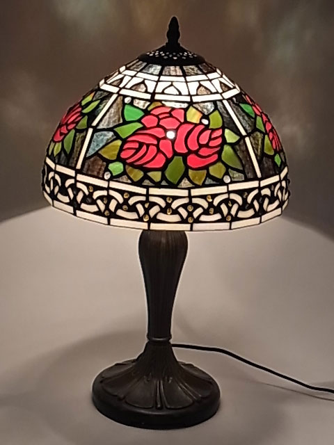 ステンドグラスランプ ローズ柄 12インチ テーブルランプ(QXCH12-14) 【即納】 【送料無料】 バラ 薔薇 ばら 照明 間接照明 ランプ ライト