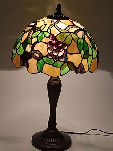 ステンドグラス ランプ 葡萄柄 12インチ・テーブルランプ G1204772 【即納】【送料無料】 ステンドグラスランプ スタンド 照明 間接照明