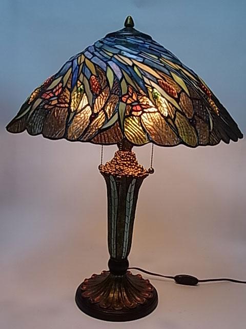 ステンドグラス ランプ 蝶々と麦畑柄 20インチ・テーブルランプ (GM2005199) 【即納】 【送料無料】 ステンドグラスランプ スタンド 照明 間接照明 アンティーク