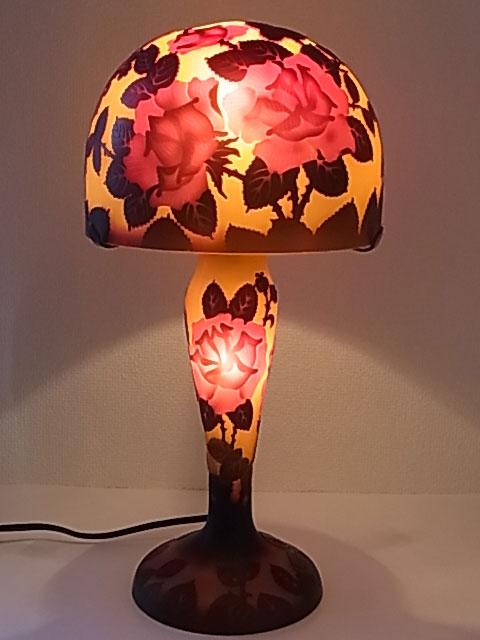 『ガレランプ』薔薇柄 8インチ・テーブルランプ(GD804) 【即納】 【送料無料】