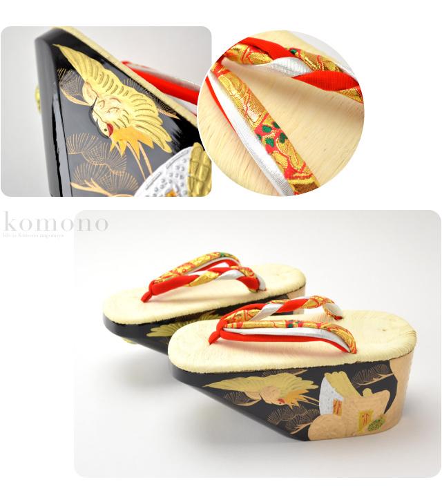 "GL[Kids-Geta] Japanese Traditional High Heel Wooden Clog ""Pokkuri"" or ""Koppori""/ Red Thongs/ Japanese Traditional Pattern ""Gosho-Guruma"", Pine & Crane Pattern Black Sole/ fs04gm [Designed In Japan]"