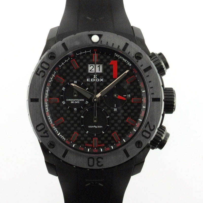 エドックス EDOX クラスワン CLASS-1 クロノオフショア クロノグラフ 10020-37N-NRO クォーツ ビッグデイト ブラック文字盤 メンズ腕時計 SS ラバー 【中古】