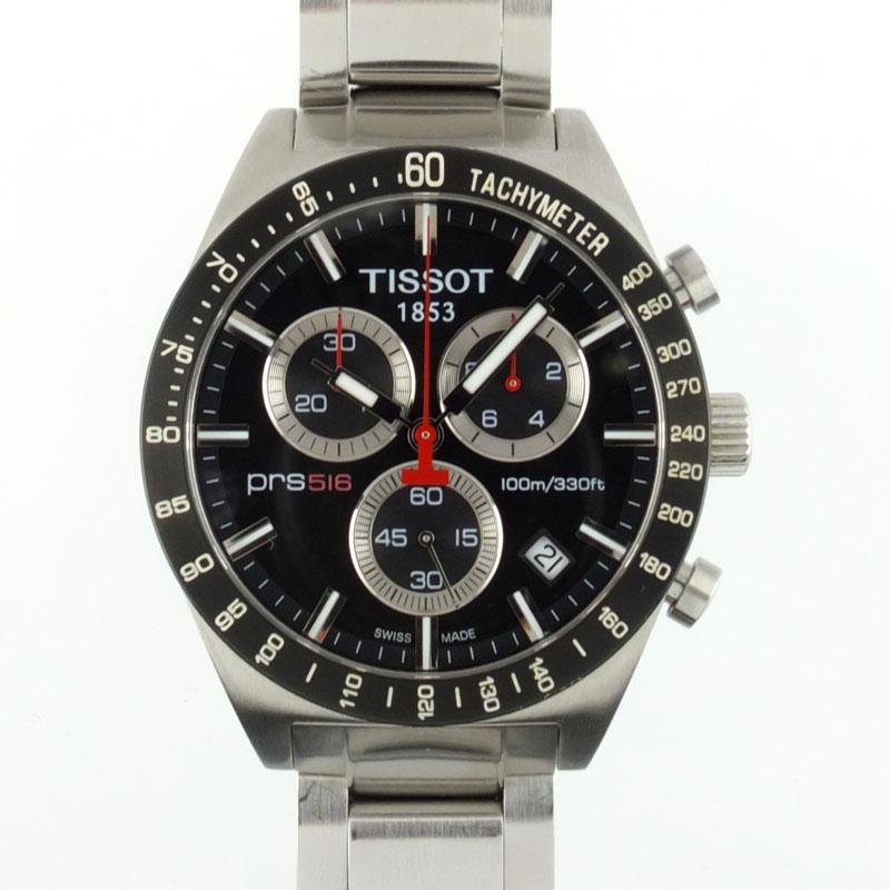ティソ TISSOT T-スポーツ クロノグラフ T044417A PRS516 クォーツ ブラック文字盤 メンズ腕時計 SS 【中古】
