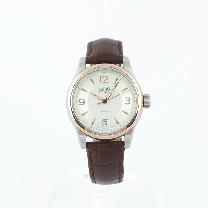 オリス ORIS クラシックデイト メンズ 腕時計 自動巻 7578 シースルーバック 【中古】