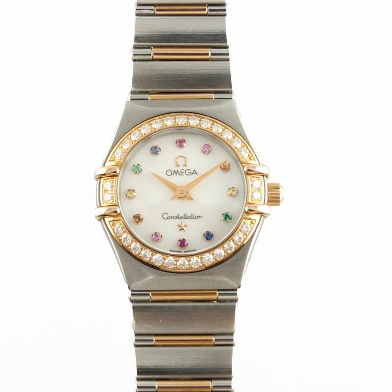 オメガ OMEGA コンステレーション ミニ アイリス 1360.79 クォーツ ダイヤベゼル ホワイトシェル文字盤 レディース腕時計 K18PG SS 【中古】