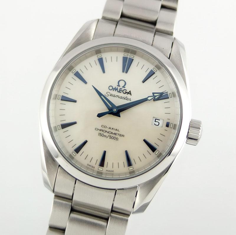 オメガ OMEGA シーマスター アクアテラ コーアクシャル 2504.70 自動巻 ホワイトシェル文字盤 メンズ腕時計 SS 【中古】