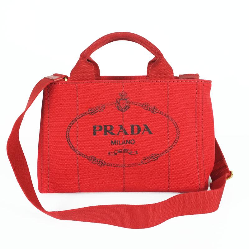 プラダ PRADA カナパ トートバッグ B2439G 2WAYショルダーバッグ ハンドバッグ キャンバス レディース 赤 【中古】
