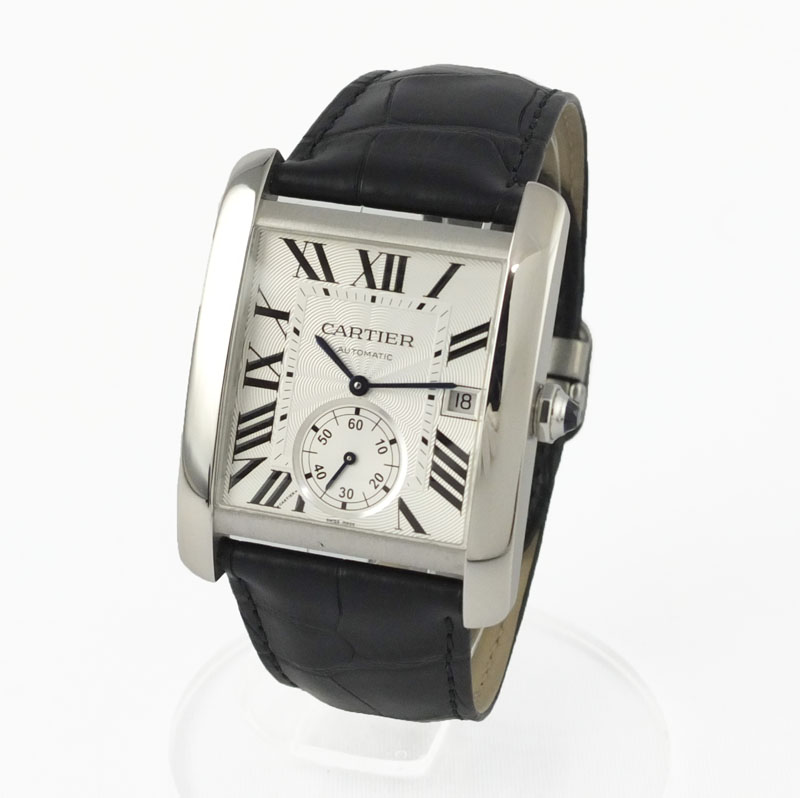 カルティエ CARTIER タンクMC W5330003 自動巻 シルバー文字盤 裏スケ スモールセコンド メンズ腕時計 SS 【中古】