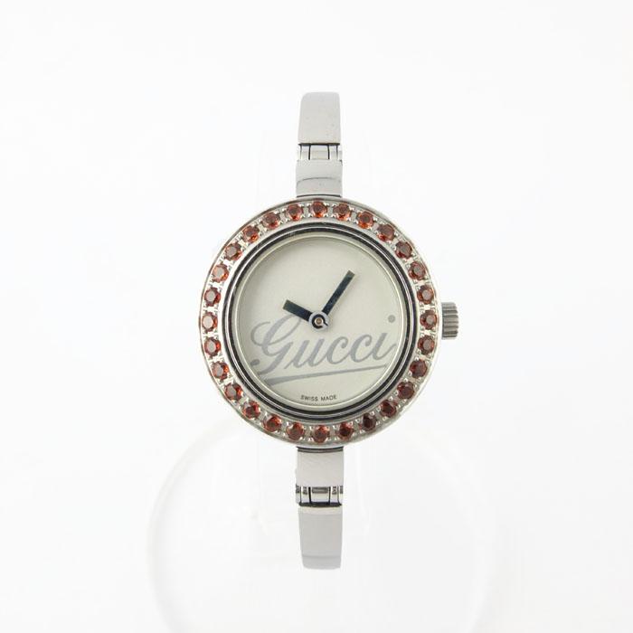 グッチ GUCCI レディースウォッチ 105 ガーネットベゼル クォーツ 腕時計 【中古】