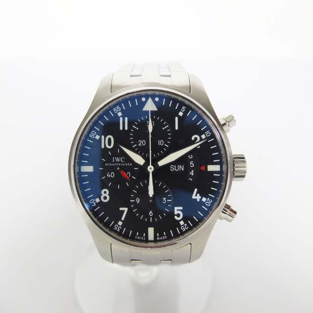 IWC パイロットウォッチ IW377704 クロノグラフ デイデイト メンズ 腕時計 黒文字盤 【中古】