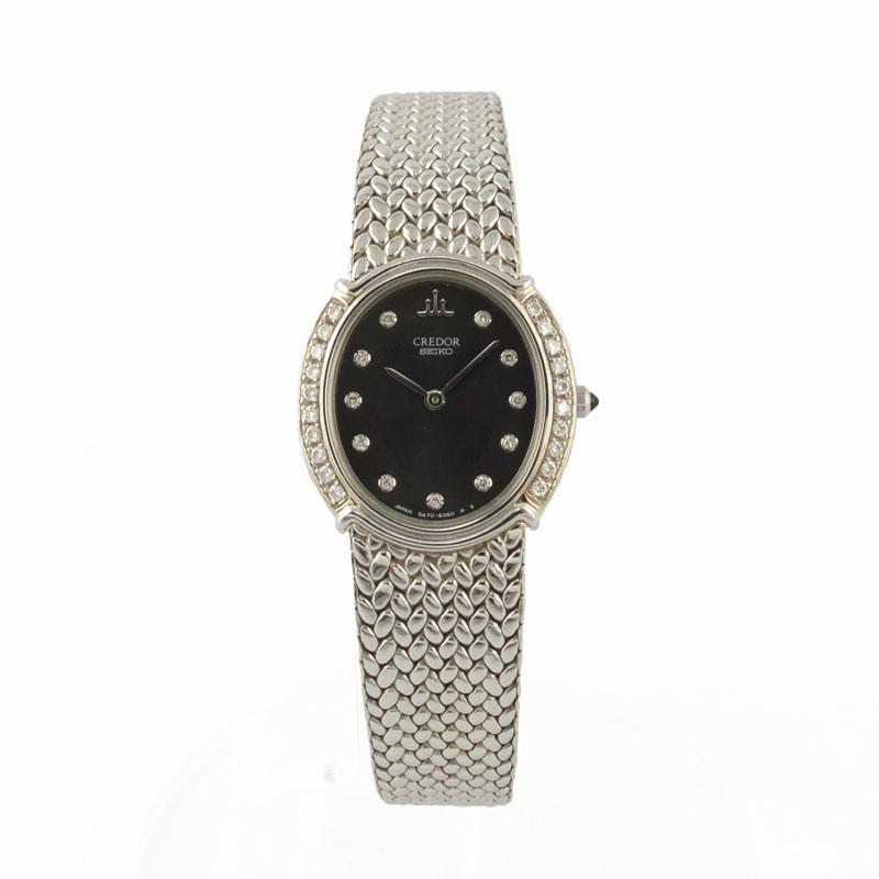 セイコー SEIKO クレドール GSWE981 5A70-3010 18KT×SS クォーツ 黒文字盤 K18ベゼル ダイヤ レディース腕時計 【中古】