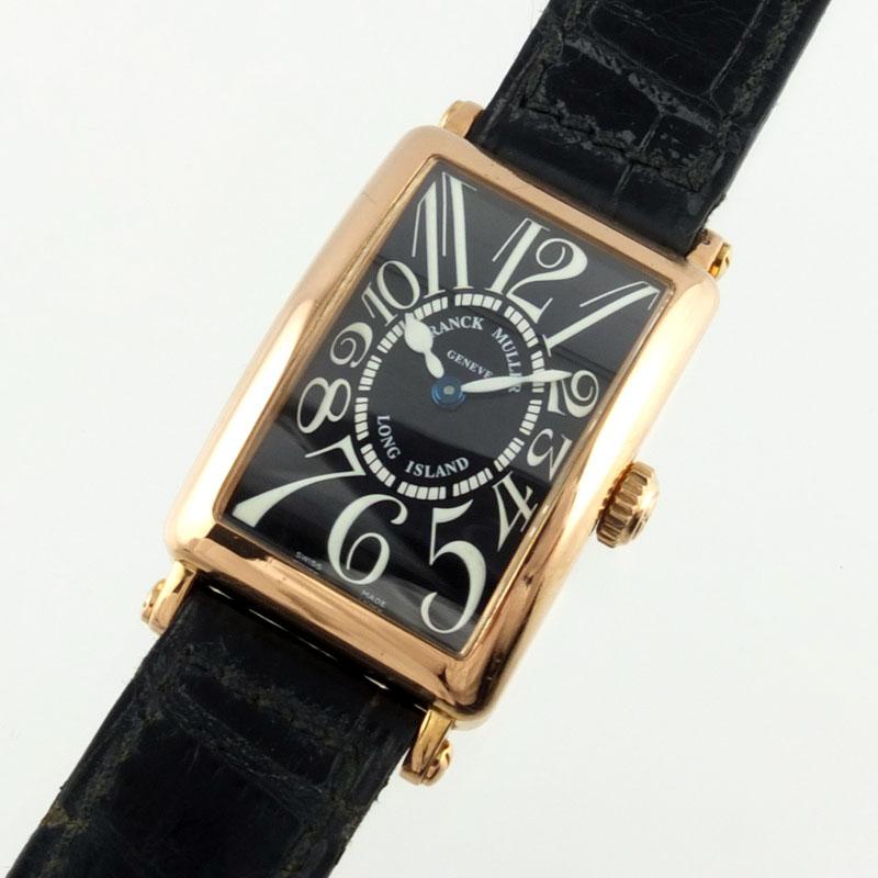 フランクミュラー FRANCK MULLER ロングアイランド 902QZ クォーツ K18 PG レザー ブラック文字盤 レディース腕時計 【中古】