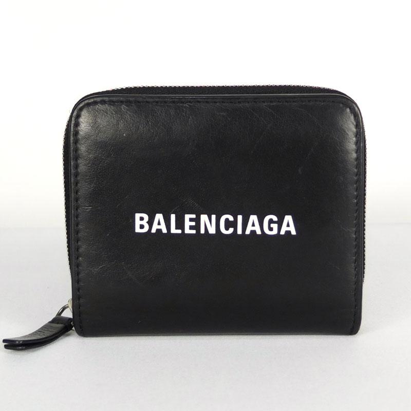 送料無料 バレンシアガ BALENCIAGA コンパクトウォレット 551933 新作販売 中古 ブラック レザー 二つ折り財布 価格 交渉 送料無料