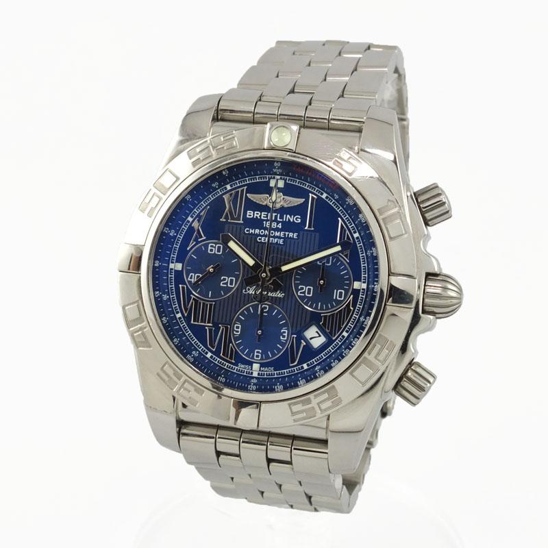 ブライトリング BREITLING クロノマット44 AB0110 自動巻 クロノグラフ 青文字盤 メンズ腕時計 SS 【中古】