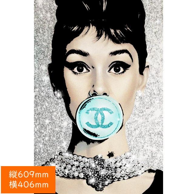 【あす楽】アモアアート AMOUR ART AUDREY BUBBLE ハリウッド女優オードリーヘップバーンとシャネルをモチーフにした海外アート作品 アートパネル キャンバス生地 406mm×609mm プッシュピンで簡単に飾れるおしゃれ【送料無料】【ポイント最大31倍:】