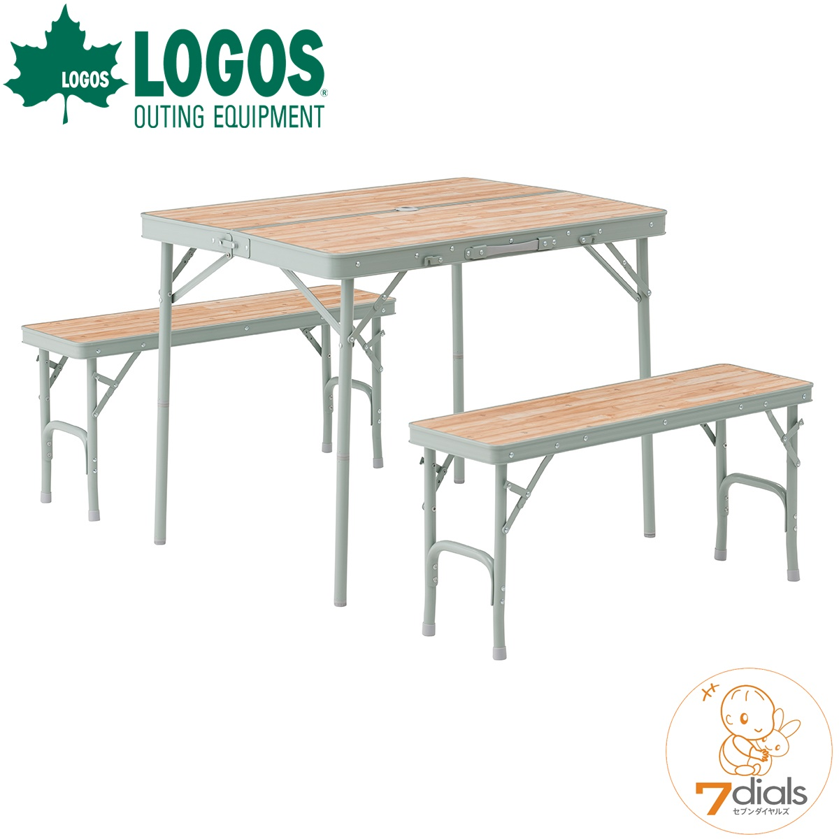 LOGOS/ロゴス LOGOS Life ベンチテーブルセット4 家族4人で使える折れ脚テーブルとベンチシート2台のセット 高さ2段階 ハイポジション、ローポジション対応 二つ折りテーブル【あす楽_土曜営業】【送料無料】