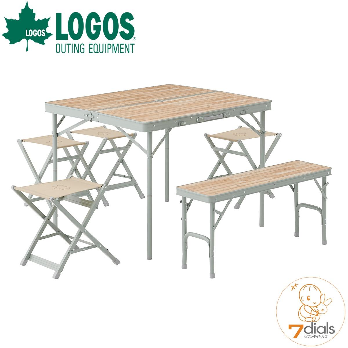 LOGOS/ロゴス LOGOS Life ベンチテーブルセット6 6人で使えるテーブルと椅子のセット 高さ2段階 ハイポジション、ローポジション対応 オールインワン収納で持ち運び便利 パラソルホール付き 折れ脚テーブル 二つ折りテーブル【送料無料】