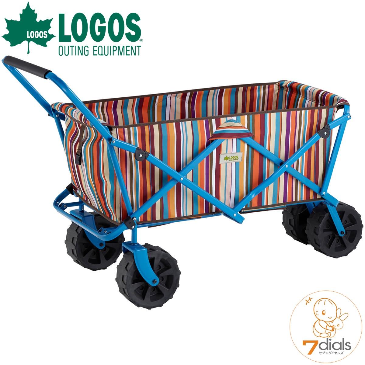 LOGOS/ロゴス (悪路OK)丸洗いストライプ キャリートラック(オレンジ)-AGキャリーカート アウトドア、キャンプ 運動会など荷物をまとめて移動するときに便利 キャリーカート おしゃれ【送料無料】