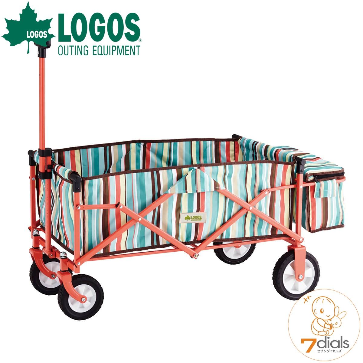 LOGOS/ロゴス 丸洗いストライプ スマートキャリー with BOX(ブルー)キャリーカート アウトドア、キャンプ 運動会など荷物をまとめて移動するときに便利 キャリーカート おしゃれ【送料無料】
