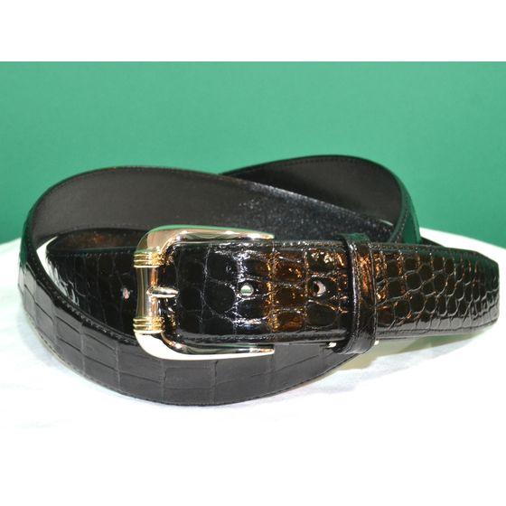 紳士 メンズ ベルト 本革 クロコダイル ワニ革 日本製 belt-cro03 (お取り寄せ商品)