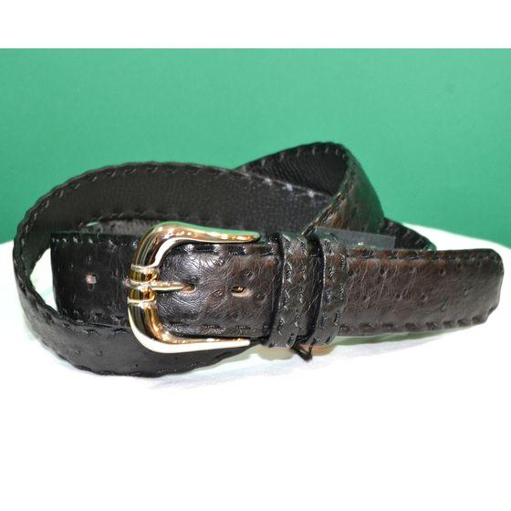 紳士 メンズ ベルト 本革 オーストリッチ ダチョウ革 黒 日本製 belt-ost03 (お取り寄せ商品)