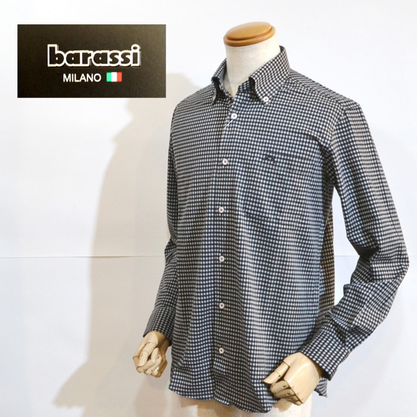 【50%OFF SALE】バラシ ミラノ barassi ブランド メンズ 服 長袖 シャツ 黒白チェック 日本製 2250-1011 送料無料