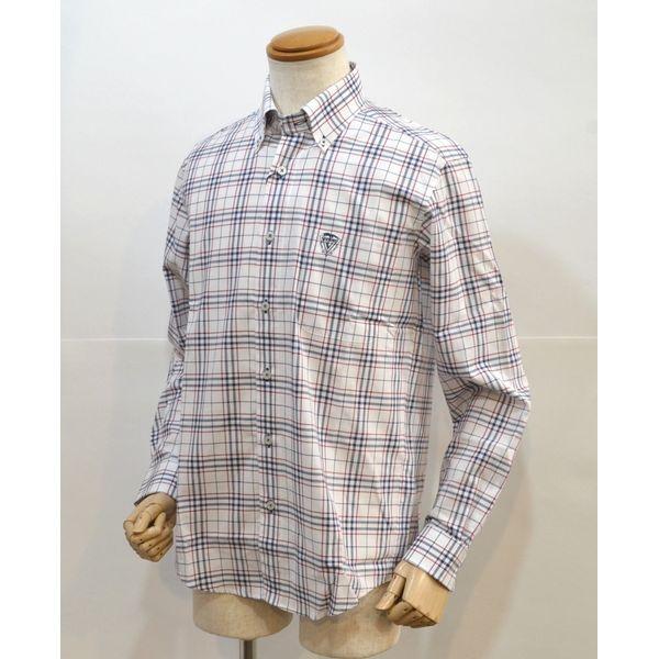 50%OFFセール カリーニ メンズ シャツ チェック 紺赤 春夏 日本製 2230-1004