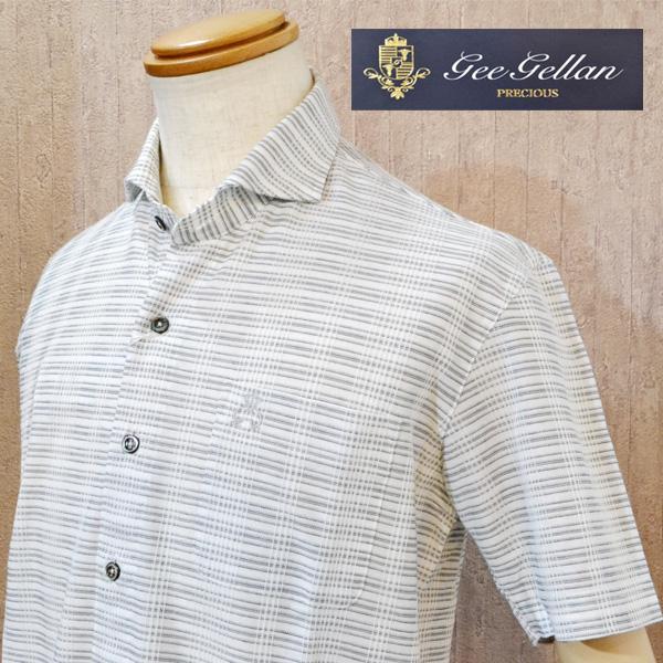 【50%OFF SALE】 ジーゲラン GEEGELLAN 半袖 前開き ポロシャツ メンズ ブランド ボーダー 胸ポケット 涼しい 日本製 服 白グレー 2210-2522 送料無料
